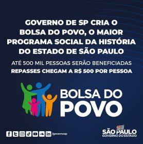 São Paulo cria o Bolsa do Povo com investimento social de R$ 1 bilhão para 2021
